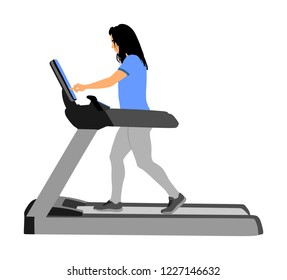Sport woman running on a treadmill in gym vector illustration. Girl on running track cardio training. Fitness lady personal trainer workout. Exercise on simulator. Gymnastic activity indoor.