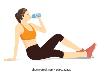 Sport woman sitting on the floor for drinking water from bottle. Illustration about benefit of water and exercide.