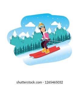 sport woman in snowboard scene