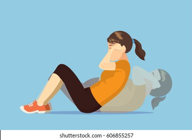 Sport woman who was fat doing sit up. Illustration about lose weight.