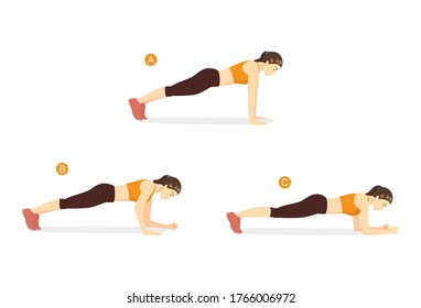 Sport women doing exercise with plank walk up pose start by push up. Workout at home for target on abdominal with no equipment.
