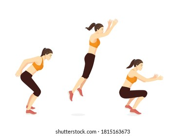 Sport women doing exercise in standing long jumping postures. Illustration about step by step of fitness pose for good exercise.