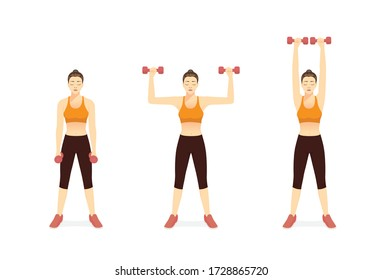 Sport Women doing Fitness with Dumbbell Biceps Curl to Shoulder Press Exercise in 3 steps. Illustration about easy Fitness with workout equipment of gym.