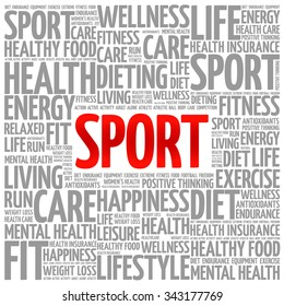 SPORT word cloud background, health concept