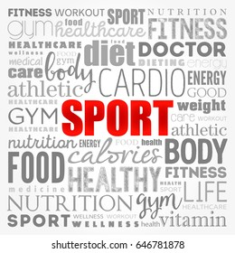 SPORT word cloud collage, health concept background
