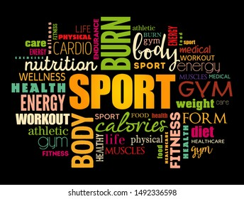 SPORT word cloud, fitness, health concept background