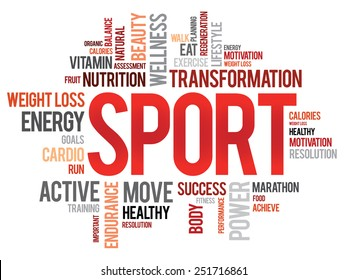 SPORT word cloud, fitness, health concept