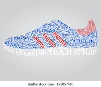 Sport word cloud in shape of sneakers