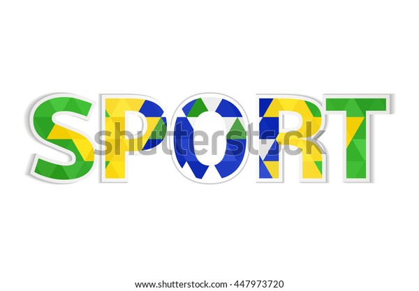 Sport word in the colors of the Brazilian flag, mosaic design, decorated.