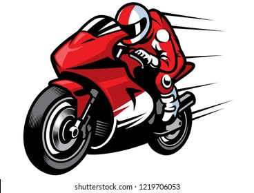 sportbike racer vector riding fast
