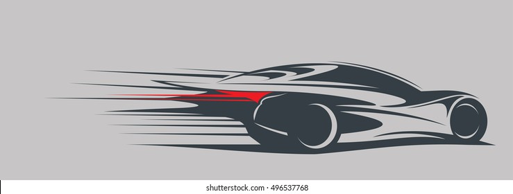 Sportcar cut out silhouette with speed lines. Fast car abstract. Vector illustration