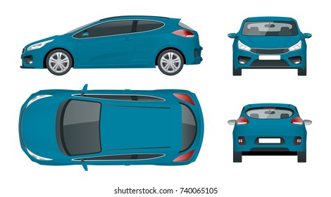 Sportcar or hatchback vehicle. SUV car set on white background, template for branding and advertising. Template vector isolated on white View front, rear, side, top
