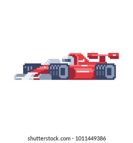 Sportcar. Pixel art icon. Red automobile. Stickers design. 8-bit sprite. Isolated vector illustration.
