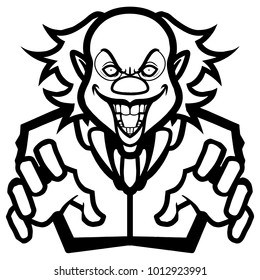sport/esport black white scary evil clown mascot image vector cartoon character