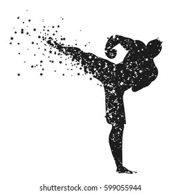 Sport/Fitness poster with man Silhouette of star particles. Kickboxing. For logo, T-shirt design, bags, poster and banner.