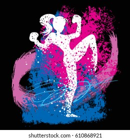 Sport/Fitness poster with woman Silhouette of star particles. Kickboxing. For logo, T-shirt design, bags, poster and banner.