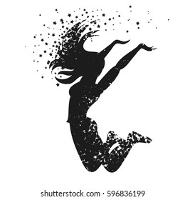 Sport/Fitness typographic poster. Dancing woman Silhouette of star particles. For logo, T-shirt design, banner, poster or fitness club. inspirational  vector illustration.