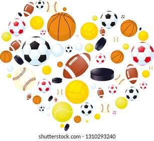 Sporting abstract Heart Made of Balls - Vector Illustration
