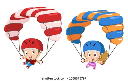 Sporting boy and girl flying with the parachutes. Young cute parachutists descending. Extreme skydiving of children in the sky. Vector cartoon illustration isolated on white background.