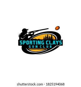 Sporting Clays Target and Shotgun Gun Club Logo Template