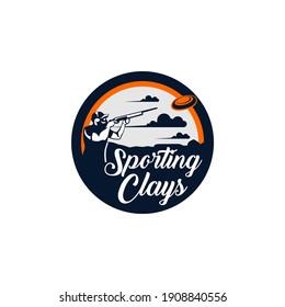 Sporting Clays Target and Sport Shotgun Gun Club Logo Template