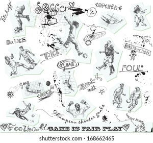 Sporting events around the World: FOOTBALL (SOCCER) no.3. Collection of hand drawn illustrations. Description: Each drawing comprise of one or two layers of outlines, colored background is isolated.