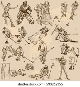 Sporting events, WINTER SPORT and Athletes in different situations. Vector collection of an hand drawn illustrations. Pack of freehand sketches.