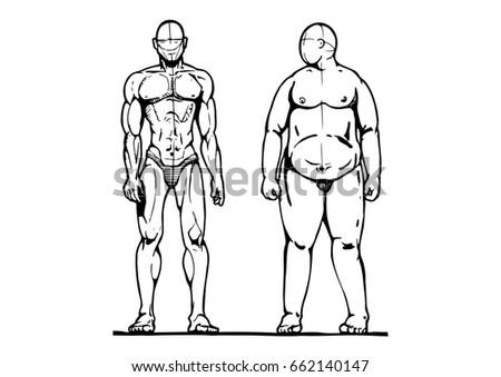 Sporting Fat Man Vector Illustration Ink Stock Vector Royalty Free