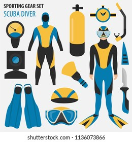 Sporting gear set. Diving equipment and scuba diver male flat design icon.Vector illustration