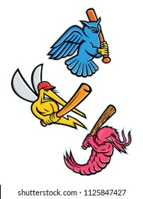 Sporting mascot icon illustration set of wildlife as baseball player like the great horned owl,  tiger owl or hoot owl, mosquito, king prawn or jumbo shrimp, batting with baseball bat in retro style.