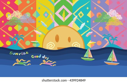 Sporting men swimming in the sea. Cartoons rainbow colors background with sunrise and sailing boat. Abstract design exotic bohemian style. Environment for earth day.