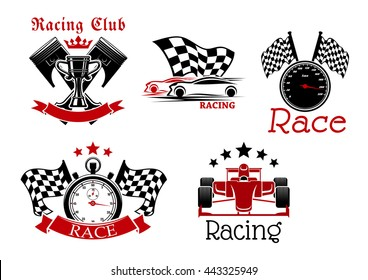 Sporting racing cars, speedometer and stopwatch with racing flags, champion trophy cup with crossed pistons. Icons for racing club or motorsport competition design
