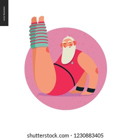 Sporting Santa -aerobics -modern flat vector concept illustration of cheerful Santa Claus doing aerobic exercises in the gym, wearing red gymnastic suit and leg warmers, xmas fitness activity