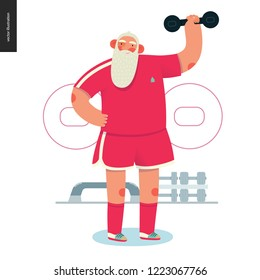 Sporting Santa - dumbbell lifting - modern flat vector concept illustration of cheerful Santa Claus lifting a dumbbell in the gym, wearing red t-shirt, socks and boxer shorts, xmas fitness activity