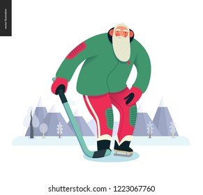 Sporting Santa - ice hockey -modern flat vector concept illustration of cheerful Santa Claus standing on the ice, wearing hockey equipment, skates with a stick, winter landscape, xmas outdoor activity
