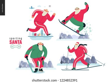 Sporting Santa - winter otdoor activities set - modern flat vector concept illustrations of cheerful Santa Claus running, snowboarding, skiing, playing hockey, wearing red tracksuit, winter landscape