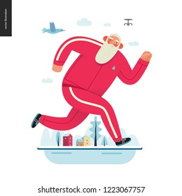Sporting Santa - winter running - modern flat vector concept illustration of cheerful Santa Claus running outside, wearing red tracksuit, winter landscape, drone and bird, xmas outdoor activity