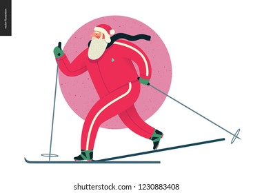 Sporting Santa - winter ski running - modern flat vector concept illustration of cheerful Santa Claus been skiing outside, wearing red tracksuit, winter landscape, xmas outdoor activity