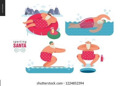 Sporting Santa - winter water activity set - modern flat vector concept illustration of cheerful Santa Claus relaxing in hot pool, swimming, floatfitting, wearing red polka dot boxer shorts