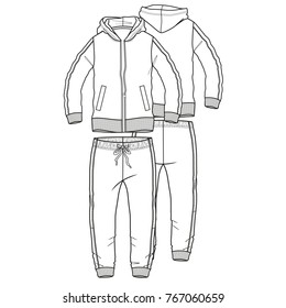 sporting tracksuit with hood flat technical template for your design. Front and back. Vector illustration