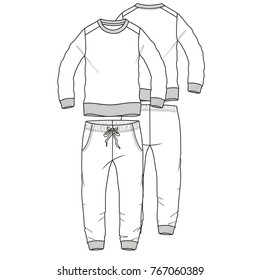 sporting tracksuit round neckflat technical template for your design. Front and back. Vector illustration