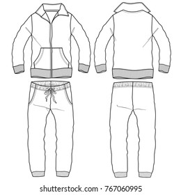 sporting tracksuit with zip flat technical template for your design. Front and back. Vector illustration