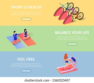 Sportish Horizontal Banners Set with Copy Space. Athletic Girl Training in Gym Jogging Trademill in Fitness Center. Man and Woman Doing Yoga. Bicycles Equipment 3d Flat Vector Isometric Illustration