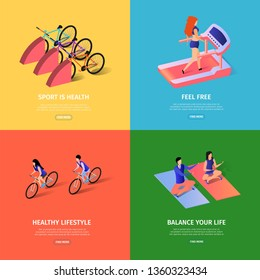 Sportish Square Banners Set with Copy Space. Girl Training in Gym Jogging Trademill in Fitness Center. Man and Woman Doing Yoga. Cyclists, Bicycles Equipment 3d Flat Vector Isometric Illustration
