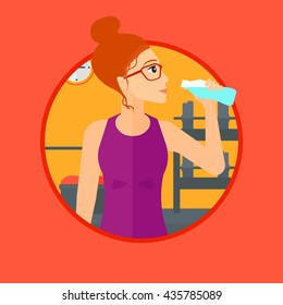 Sportive woman drinking water. Woman with bottle of water in the gym. Young sports woman drinking water from the bottle. Vector flat design illustration in the circle isolated on background.
