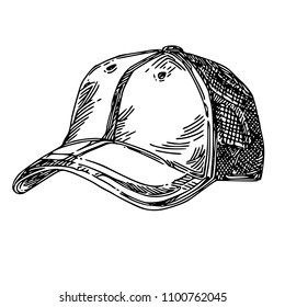 8078aa1e524 Cap. Engraving style. Vector illustration