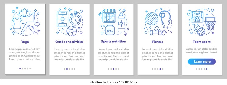 Sports activities onboarding mobile app page screen with linear concepts. Fitness, yoga, powerlifting, team sport, outdoor activities steps graphic instructions. UX, UI, GUI vector illustrations