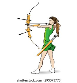 Sports archery, a girl in a green dress with a bow and arrow on a white background