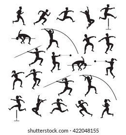 Sports Athletes, Track and Field, Silhouette Set, Games, Action, Exercise