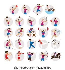 Sports Athletes, Women Icons Set, Games, Symbol